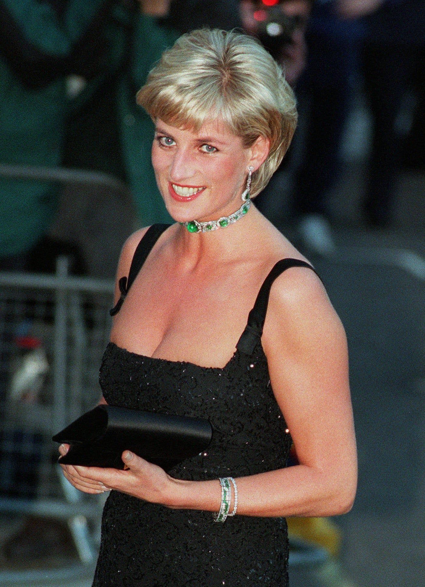 Princess Diana, smiles as she arrives at the Tate Gallery in London Tuesday July 1, 1997 for the Centenary Gala honoring the world famous museum.  (AP)