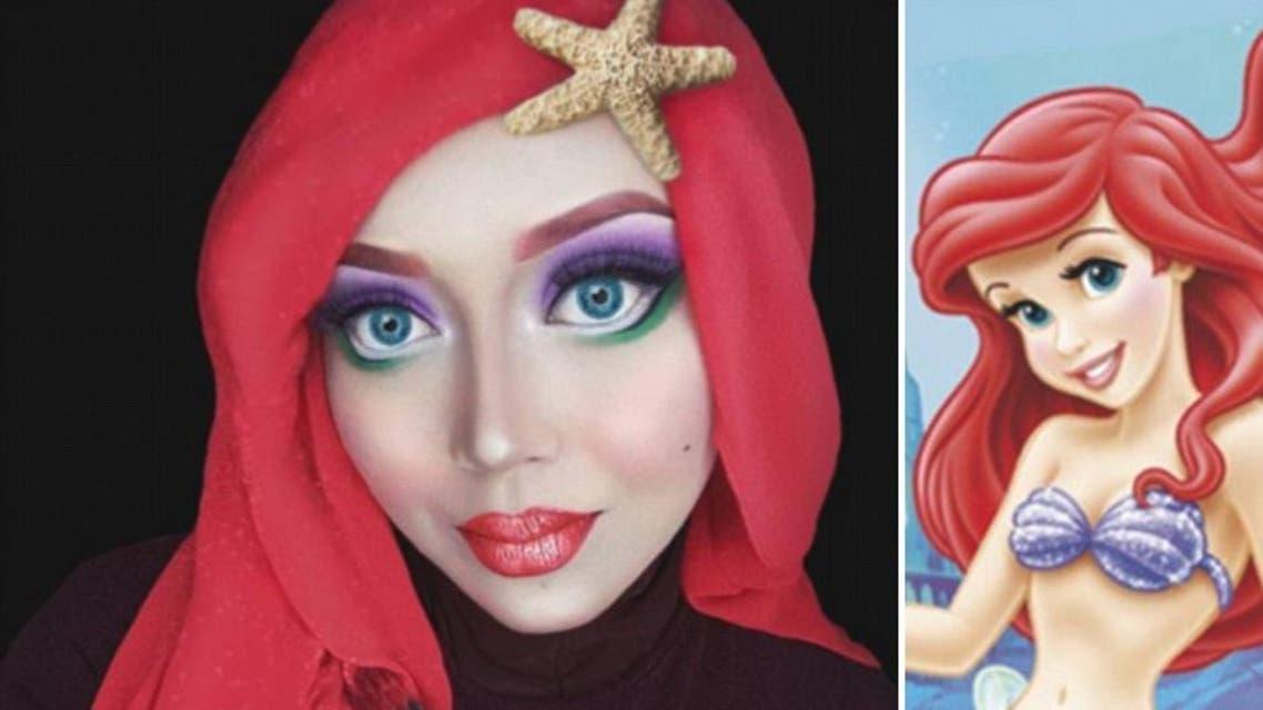 Makeup artist uses her hijab to transform into Disney princesses