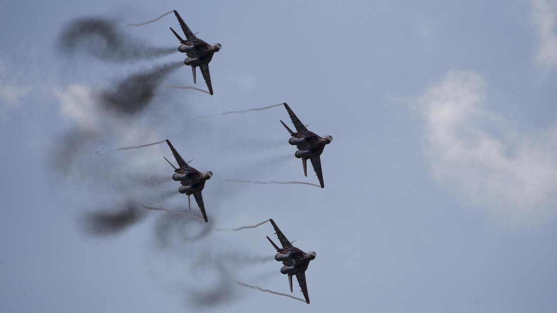 File photo of MiG-29 jet fighters of the Russian aerobatic team Strizhi performing during MAKS International Aviation and Space Salon in Zhukovsky. (Reuters)