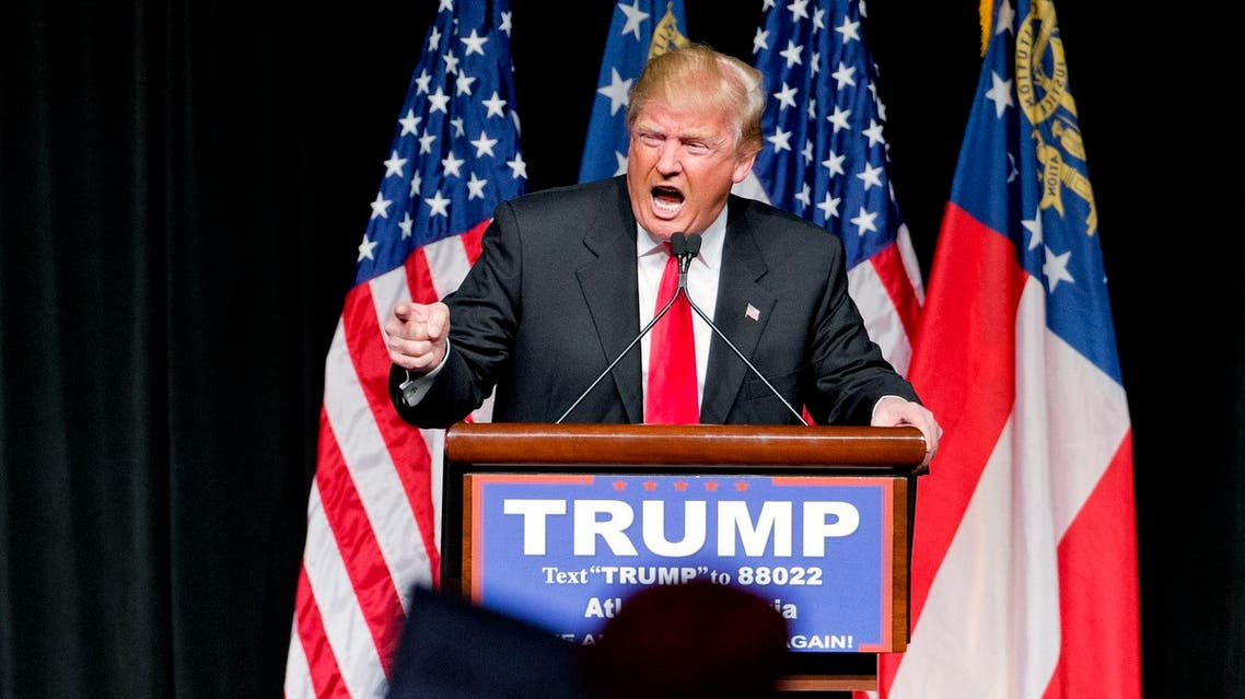 In this Feb. 21, 2016, photo, Republican presidential candidate Donald Trump speaks at a campaign event in Atlanta. AP