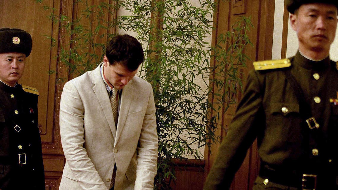 American student Otto Warmbier, center, arrives at the People's Cultural House, as Warmbier is presented to reporters Monday, Feb. 29, 2016, in Pyongyang, North Korea. North Korea announced late last month that it had arrested the 21-year-old University of Virginia undergraduate student. (AP)