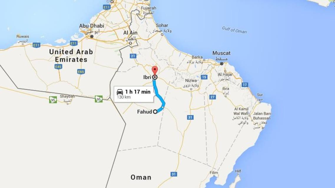The collision occurred on a roundabout connecting the districts of Ibri and Fuhud and the victims came from several countries. (Google maps)