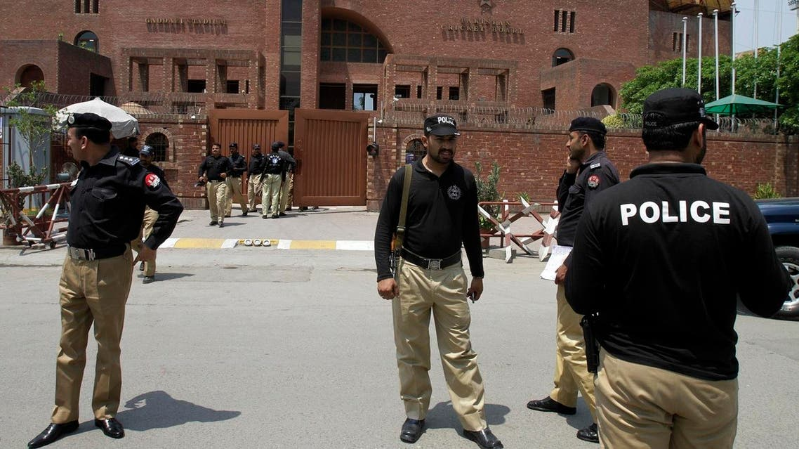 Pakistani police officers take part a security rehearsal for next week's cricket series between Pakistan and Zimbabwe at Gaddafi Stadium in Lahore, Pakistan, Saturday, May 16, 2015. Hundreds of Pakistani policemen featured in a dress rehearsal on Saturday to provide security to the visiting Zimbabwe cricket team in the eastern city of Lahore. (AP Photo/K.M. Chaudary)