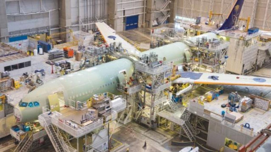 The airplane is now in the initial fuselage section joining phase and will move to the next assembly station for wing junction. (SG)