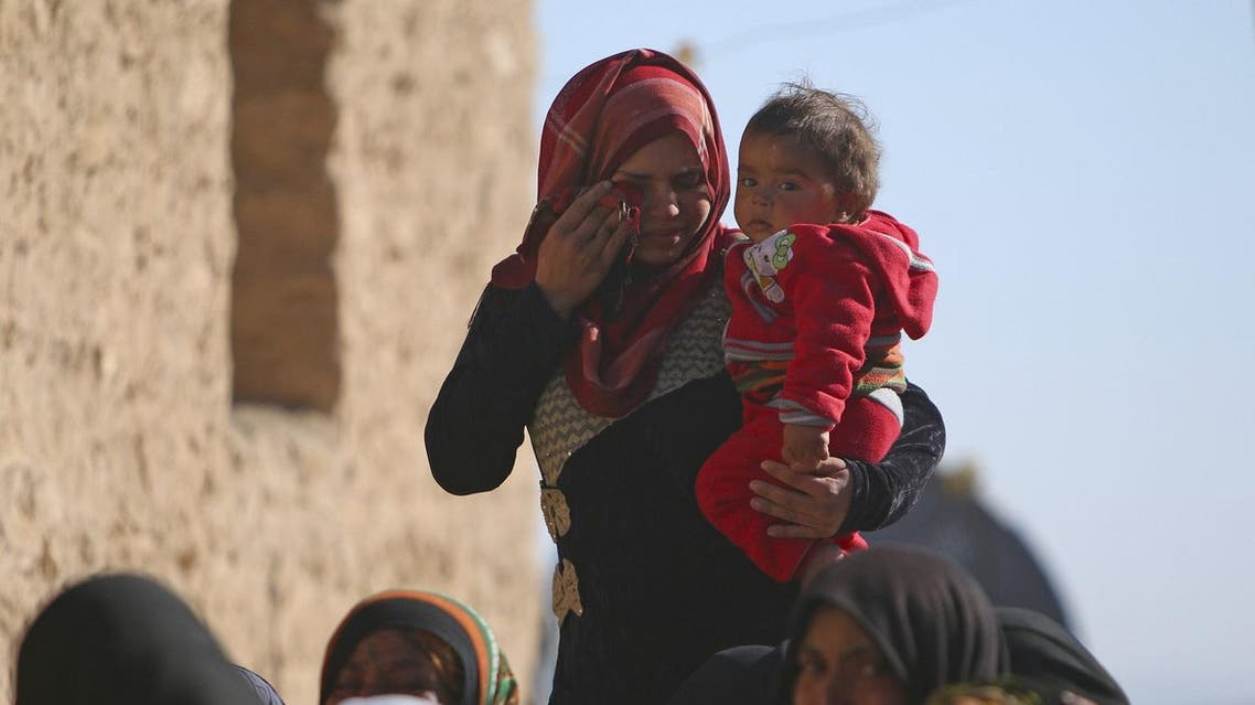 Women morn the death of a relative killed by Islamic State fighter in Mteahh village near al-Shadadi town, Hasaka countryside. (Reuters)