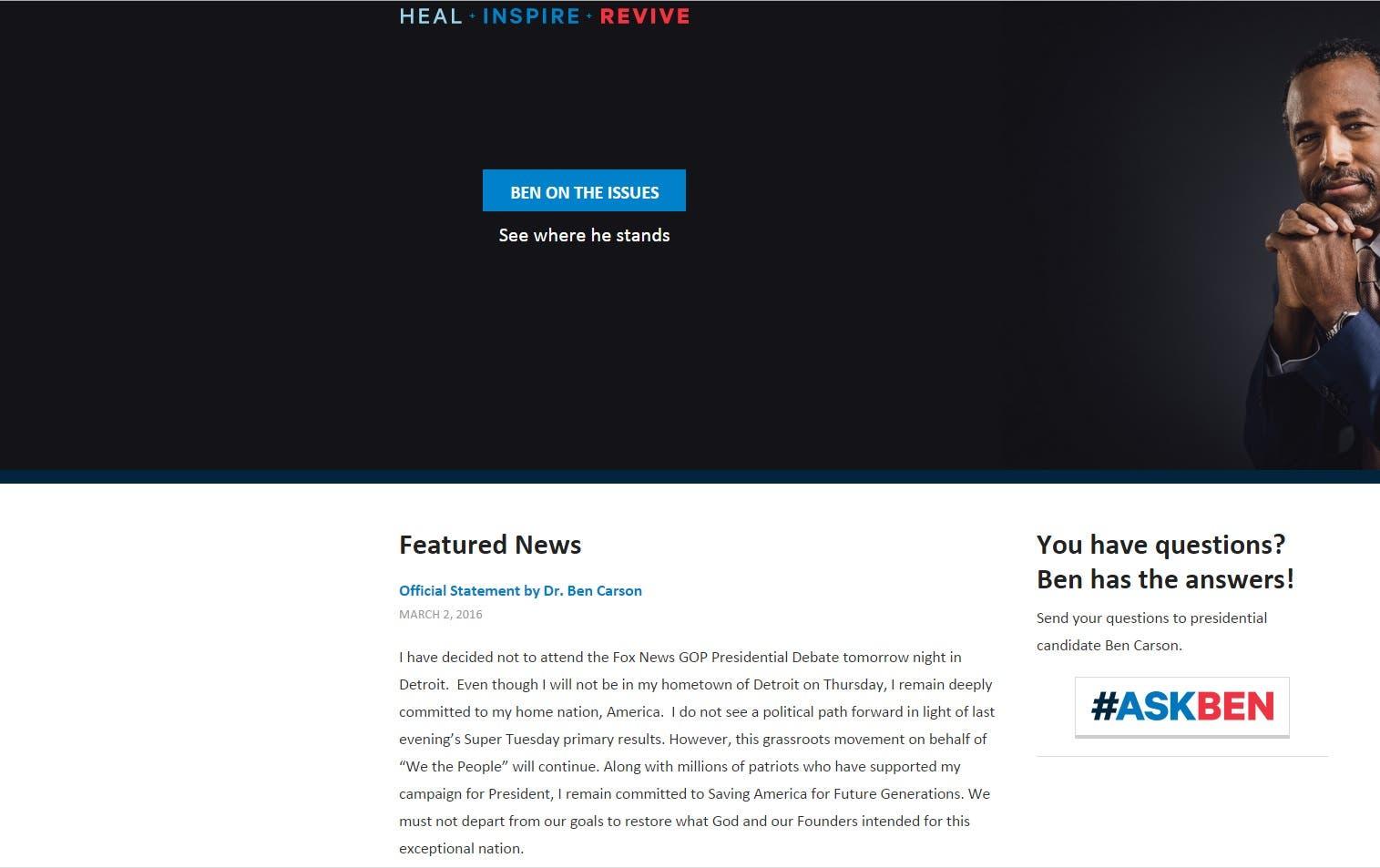(Screengrab of www.bencarson.com)