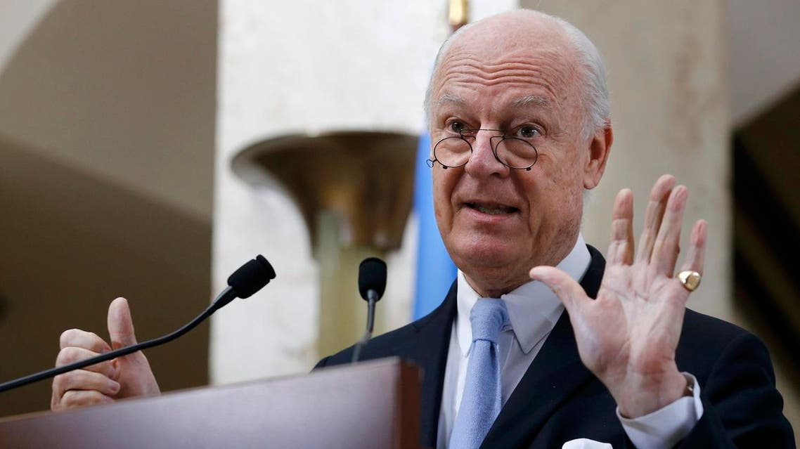 Staffan de Mistura, United Nations Special Envoy for Syria, shows six with his hands as six days of the truce holding, during a news conference after a meeting of the Task Force for Humanitarian Access at the U.N. in Geneva, Switzerland, March 3, 2016. REUTERS