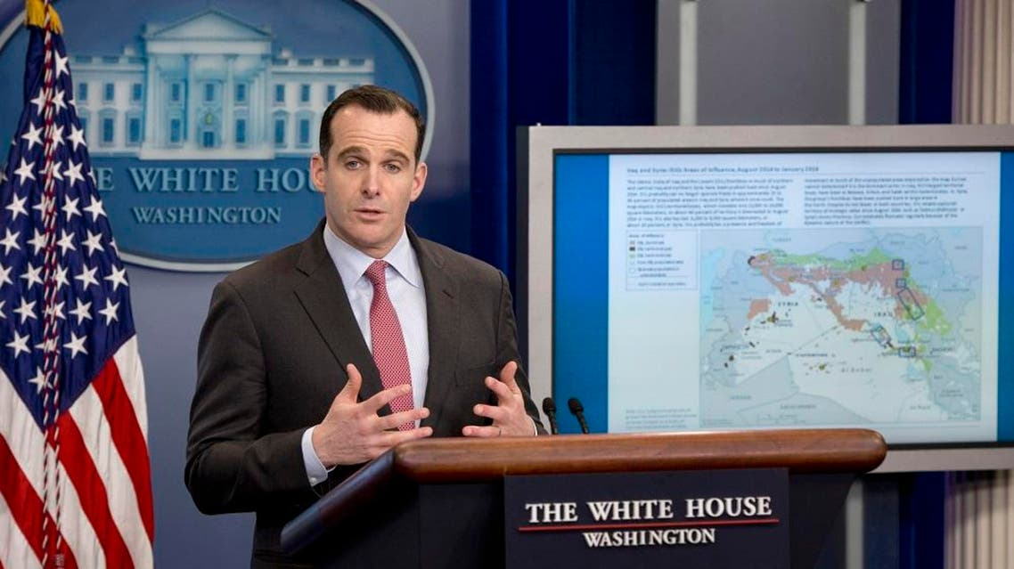 With a map of Iraq and Syria at right, Brett McGurk, Special Presidential Envoy for the Global Coalition to Counter ISIL, Office of the Special Presidential Envoy for the Global Coalition to Counter ISIL, speaks during the daily news briefing at the White House in Washington, Tuesday, Feb. 23, 2016 (AP)