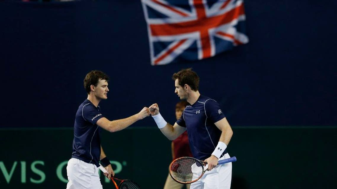 Great Britain's Jamie and Andy Murray celebrate during the doubles Action (Reuters)