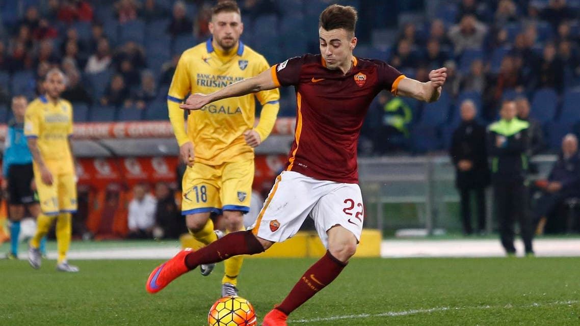 Roma's Stephan El Shaarawy kicks the ball during a Serie A soccer match between Roma and Frosinone, at Rome's Olympic stadium, Saturday, Jan. 30, 2016. (AP)