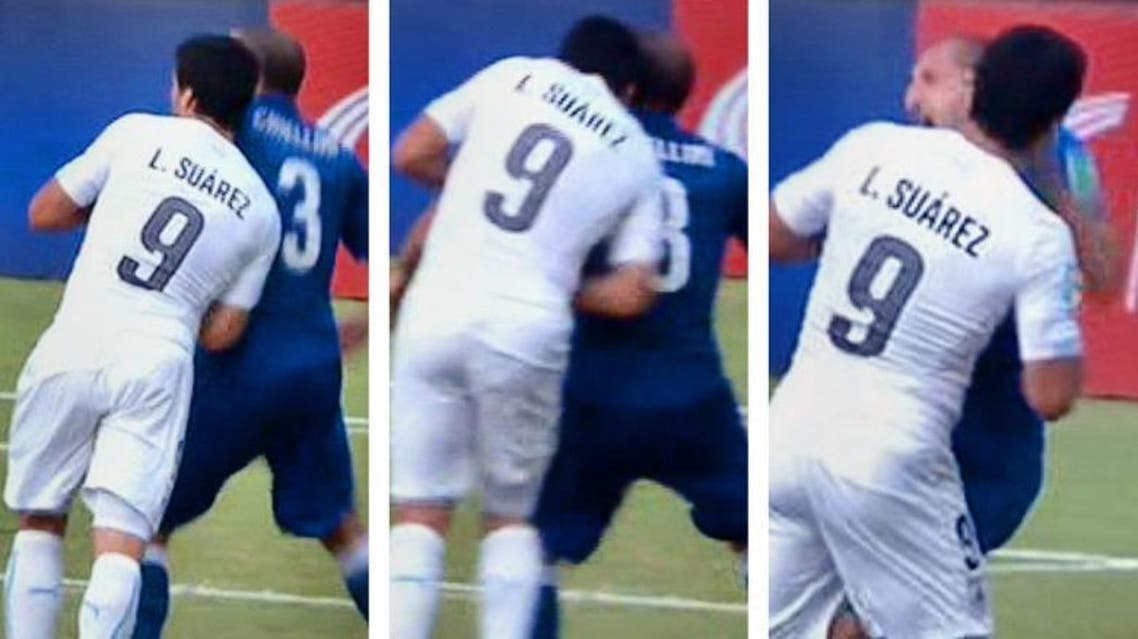 Barcelona's Suarez was suspended for nine games after biting Italy's Giorgio Chiellini at the World Cup in Brazil. (YouTube: Screenshot)