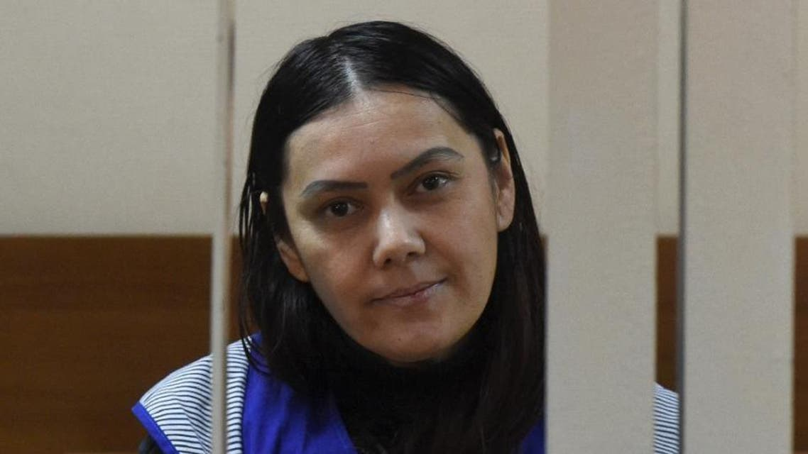 """Gyulchekhra Bobokulova told journalists that """"Allah ordered"""" the killing of a young girl in her care at a courthouse in Moscow, on March 2, 2016 (AFP)"""