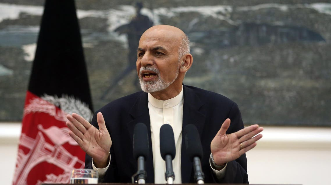 Afghanistan's President Ashraf Ghani talks during a press conference at presidential palace in Kabul, Afghanistan, Thursday, Oct. 1, 2015. AP