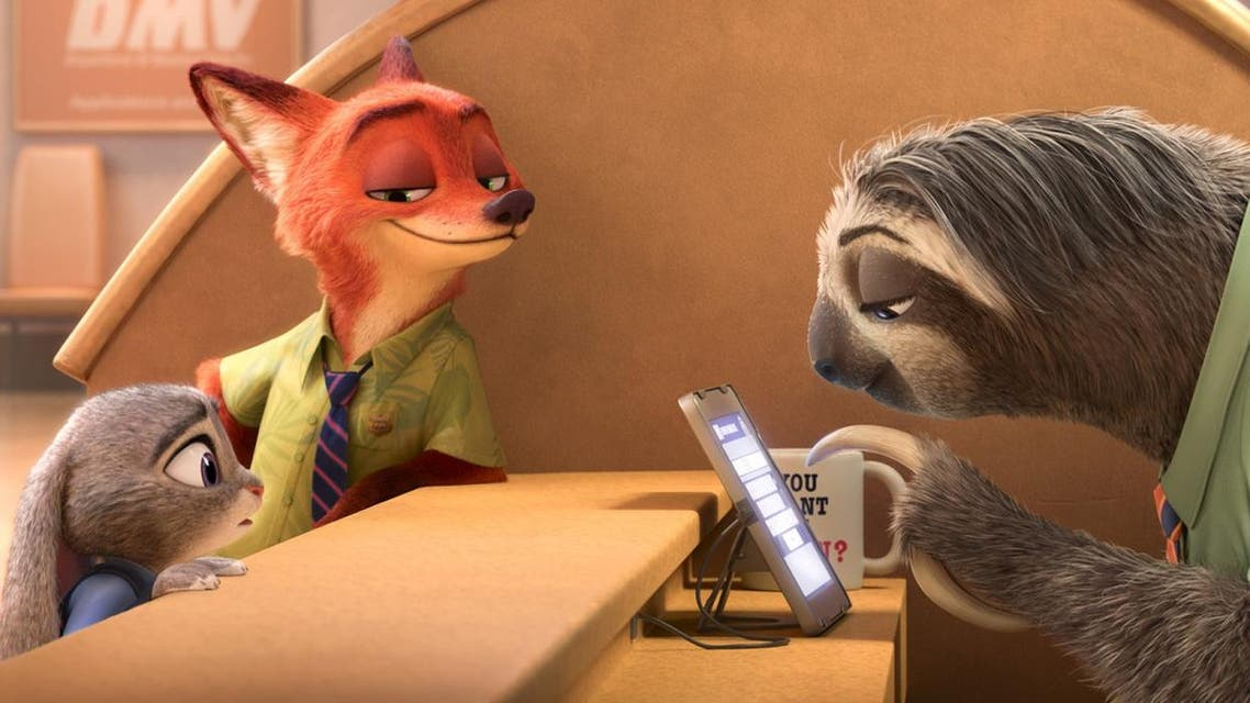 "This image released by Disney shows Judy Hopps, voiced by Ginnifer Goodwin, left, Nick Wilde, voiced by Jason Bateman, second left, in a scene from the animated film, ""Zootopia."" (Disney via AP)"