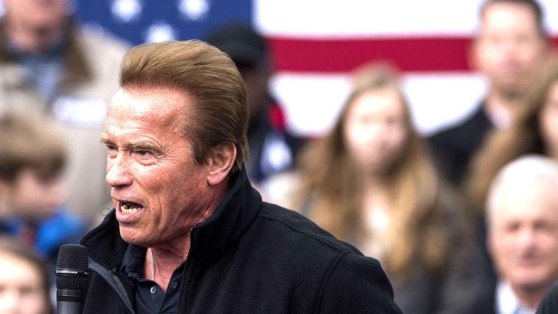 "Schwarzenegger says Kasich ""kicked some serious butt"" during his 18 years in Washington, when he helped balance the federal budget. (AFP)"