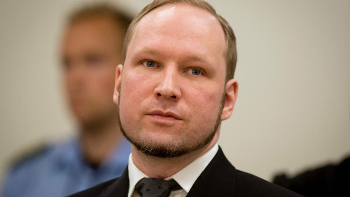 This file photo taken on August 24, 2012 shows self-confessed mass murderer Anders Behring Breivik arriving in court room 250 at the central court Oslo on August 24, 2012 for his trial after his 2011 twin attacks that left 77 people dead. AFP
