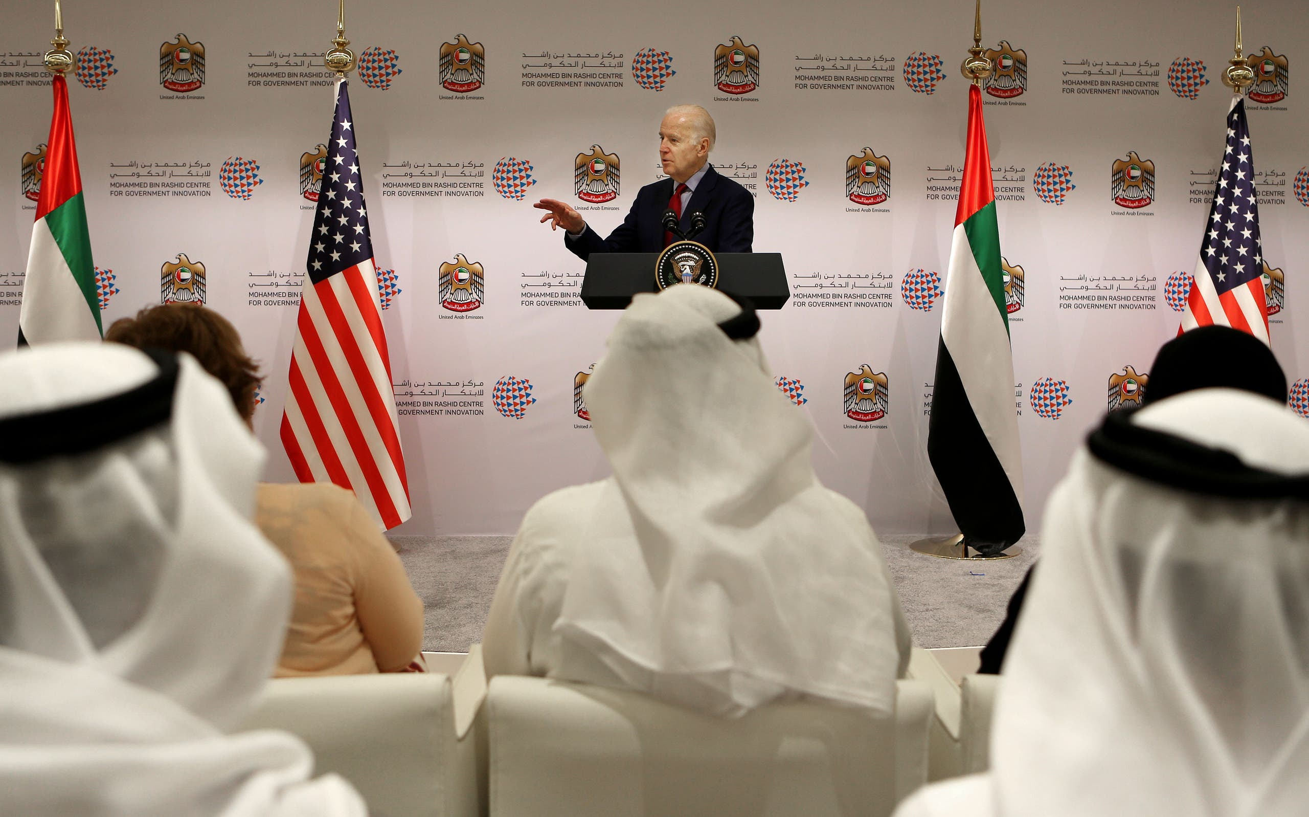 U.S. Vice President Joe Biden speaks during a conference with young Emirati entrepreneurs in Dubai, United Arab Emirates, Tuesday, March 8, 2016. (AP)