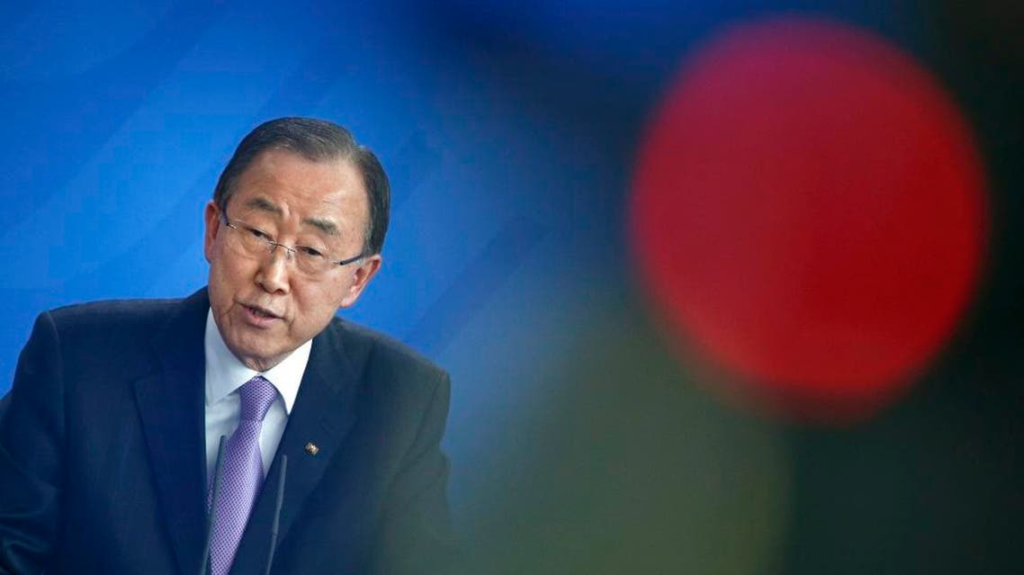 U.N. Secretary General Ban Ki-moon addresses a news conference follwing talks with German Chancellor Angela Merkel at the Chancellery in Berlin, Germany, March 8, 2016 (Reuters)