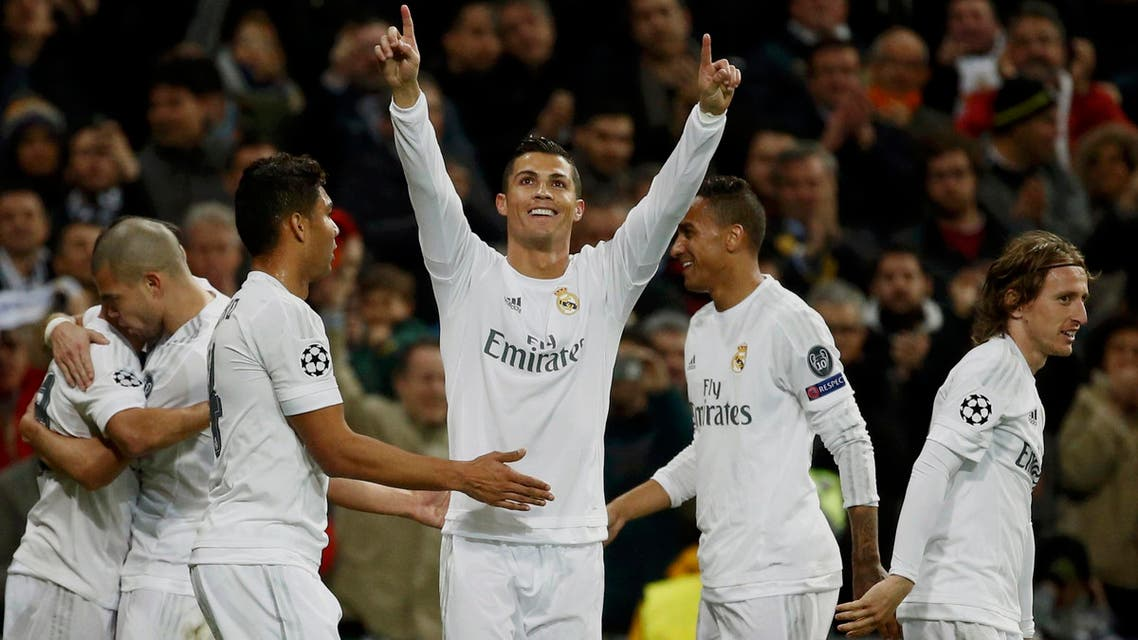 UEFA Champions League Round of 16 Second Leg - Santiago Bernabeu stadium, Madrid, Spain - 8/3/16 Real Madrid's Cristiano Ronaldo celebrates with team mates after scoring a goal. (Reuters)