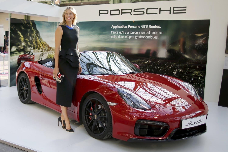 File photo of Maria Sharapova next to a Porsche in Paris. (Reuters)