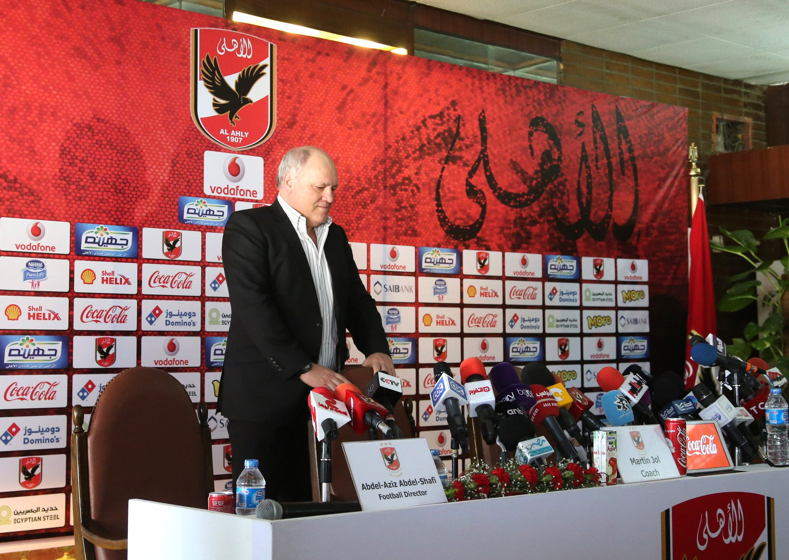 Former Tottenham manager Martin Jol arrives to attend a press conference in Al-Ahly club as he was unveiled as the new coach for Egyptian Premier League leaders Al-Ahly. (Reuters)