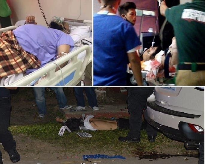 الشيخ القرني تنقله سيارة اسعاف الى مستشفى يبدو فيه بالصورة الثانية، ثم مطلق النار وهو قتيل