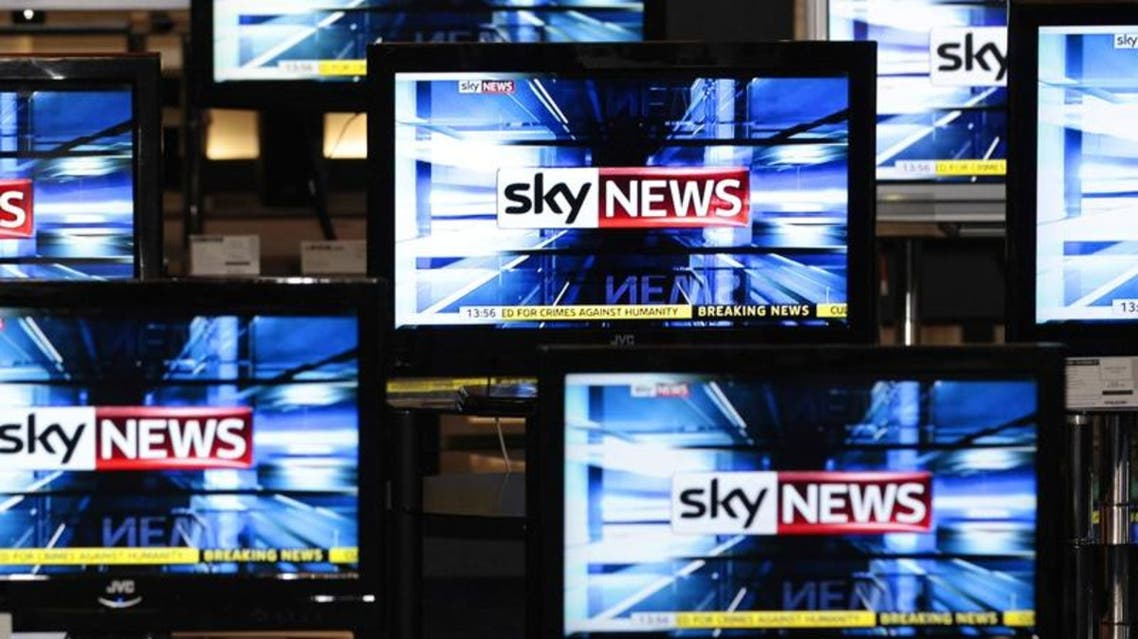 The Sky News logo is seen on television screens in an electrical store in Edinburgh. (Reuters)