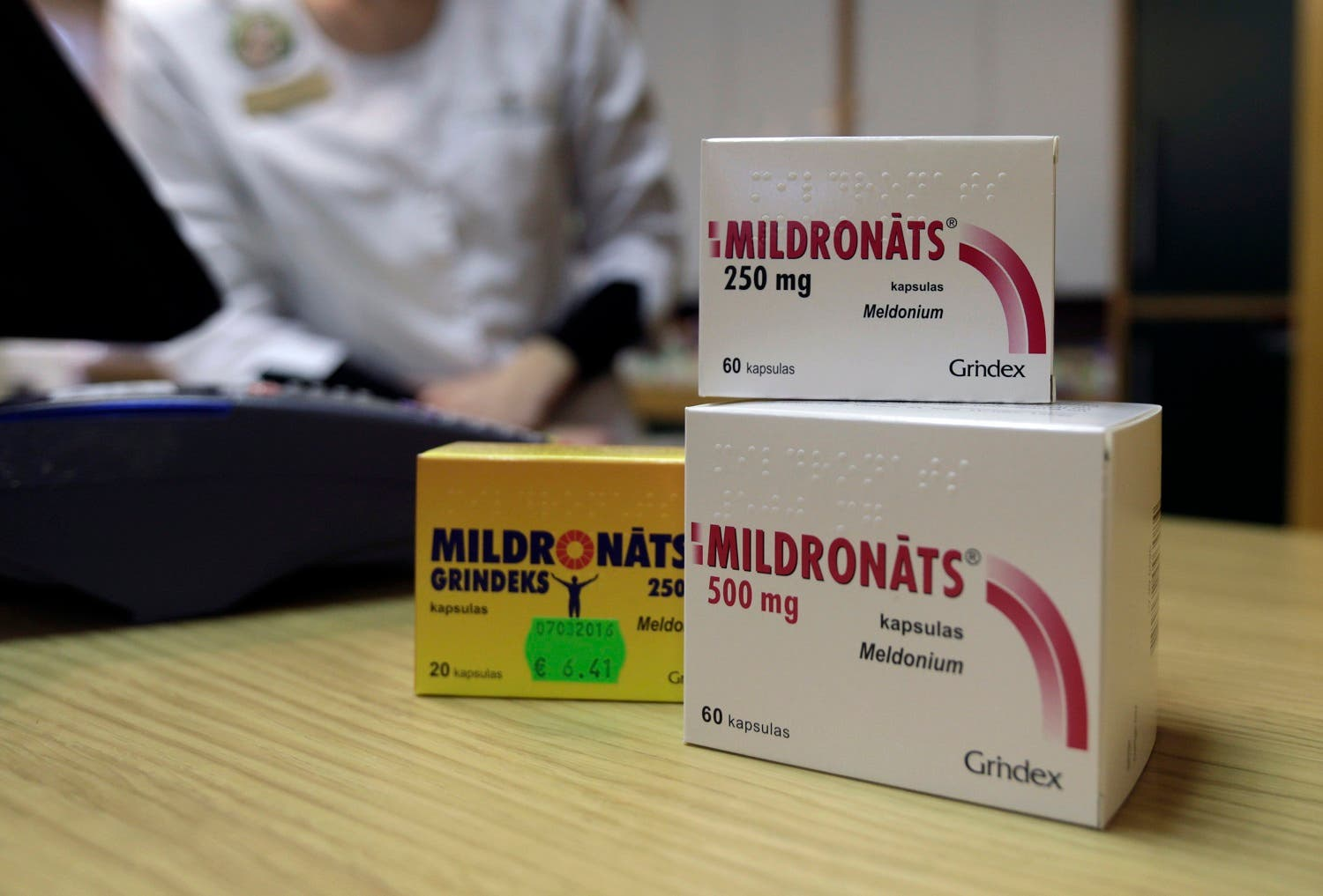 Mildronate (Meldonium) medication is pictured in the pharmacy in Saulkrasti. (Reuters)