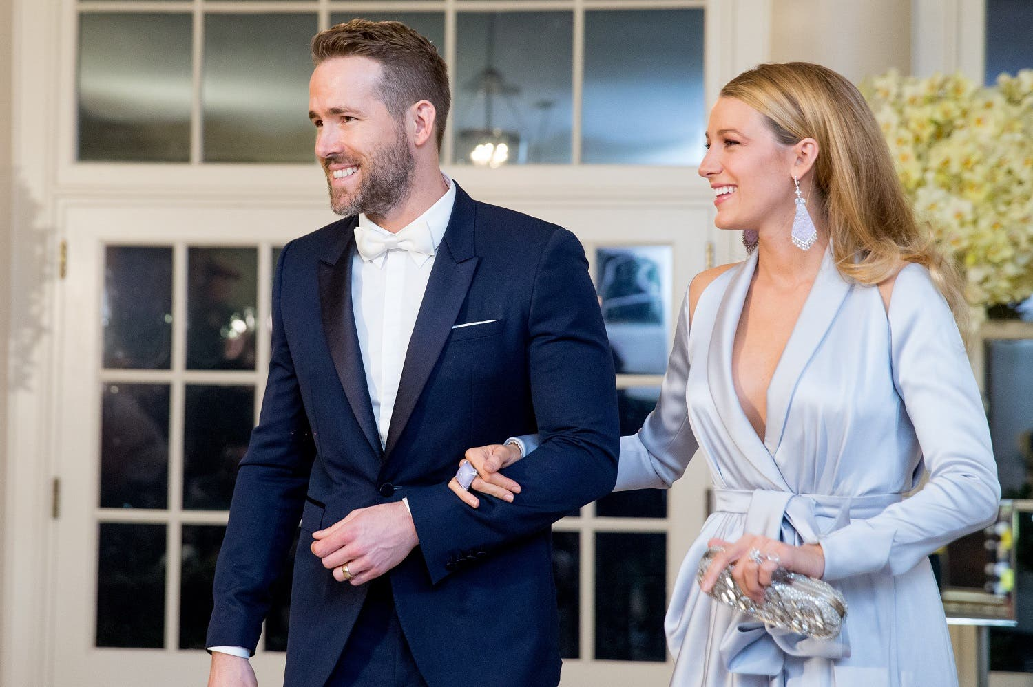 Actor Ryan Reynolds and entertainer Blake Lively, arrive for a State Dinner for Canadian Prime Minister Justin Trudeau, Thursday, March 10, 2016, at the White House in Washington. (AP)