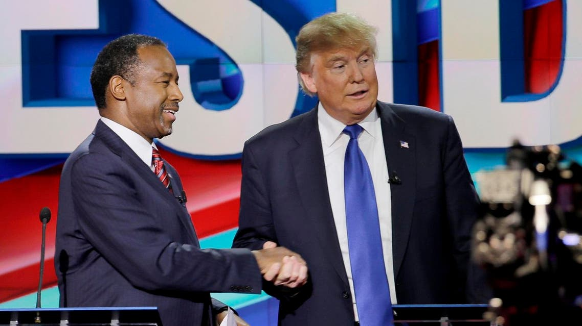 Republican presidential candidate, retired neurosurgeon Ben Carson, left, and Republican presidential candidate, businessman Donald Trump shake hands after a Republican presidential primary debate at The University of Houston, Thursday, Feb. 25, 2016, in Houston. (AP)