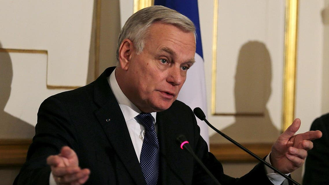 French Foreign Minister Jean-Marc Ayrault speaks during a press conference with Egyptian Foreign Minister Sameh Shoukry (not pictured) in Cairo, Egypt, March 9, 2016. REUTERS