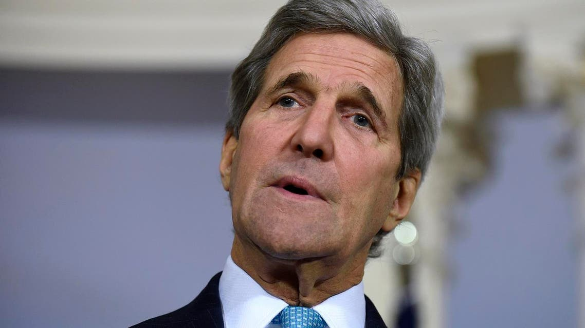 Secretary of State John Kerry speaks to reporter during a media availability with Danish Foreign Minister Kristian Jensen, Wednesday, March 9, 2016, at the State Department in Washington. (AP Photo/Susan Walsh)