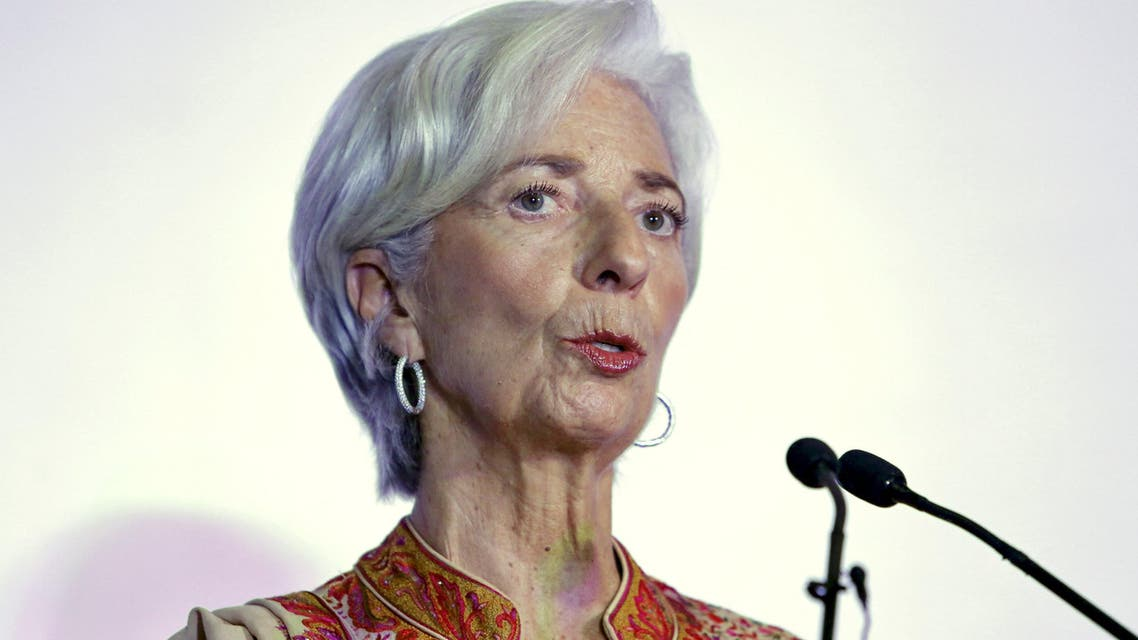 """IMF Managing Director Lagarde addresses a gathering during """"Advancing Asia: Investing for the Future"""" conference in New Delhi. (Reuters)"""