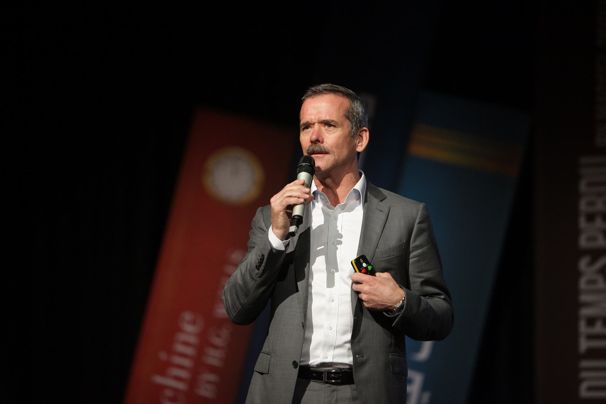 astronaut Chris Hadfield gave the final speech of the evening. (Emirates Literature Festival)