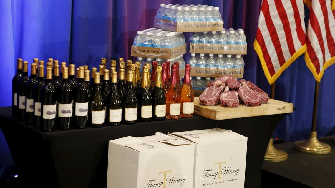 Steaks and chops described as 'Trump meat' are shown near the podium with Trump branded wines and water before U.S. Republican presidential candidate Donald Trump was scheduled to appear at a press event at his Trump National Golf Club in Jupiter, Florida, March 8, 2016. REUTERS