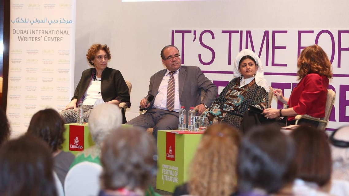 Dr. Hatoon al-Fassi (R) and Dr. Rafia Ghubash (L) at the Emirates Festival of Literature. (Emirates Literature Festival)