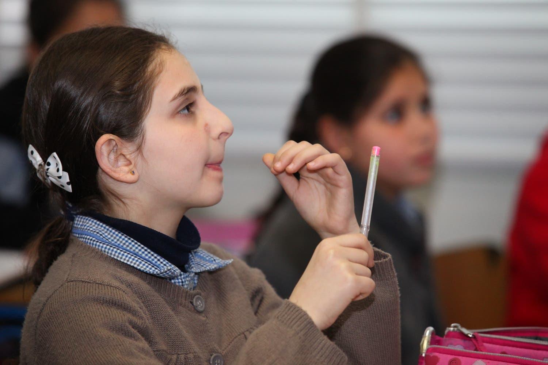 A girl attends a class in Beirut's Mohammed Shamel Public School (Photo: Roudy Lattouf)
