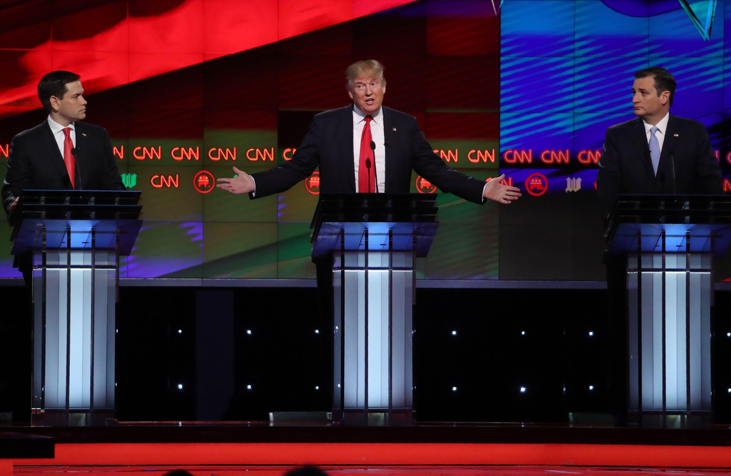 مناظرة جمعت بين المرشحين الجمهوريين تيد كروز ودونالد ترامب وماركو روبيو
