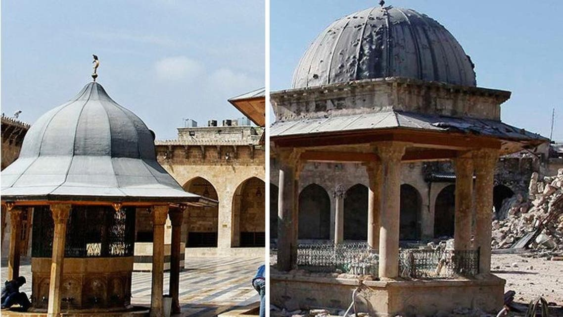 Pictured on the left is the Umayyad Mosque in September 11, 2008, and on the right the same mosque in December, 2013. (Reuters).