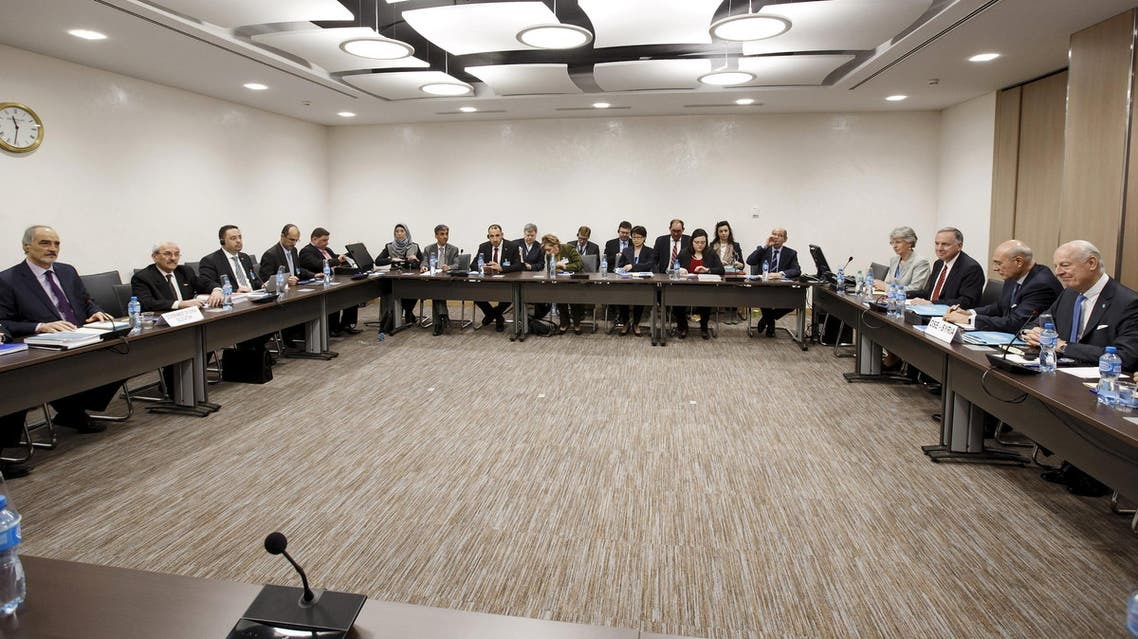 Delegates attend a new round of negotiations between the Syrian government and U.N., at the European headquarters of the United Nations in Geneva, Switzerland March 14, 2016. (Reuters)