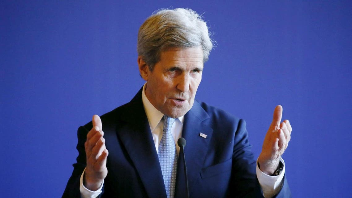 U.S. Secretary of State John Kerry attends a news conference after meeting over the crisis in the Mideast, at the Quai d'Orsay ministry in Paris, France, March 13, 2016. REUTERS