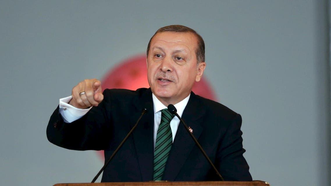 Turkish President Tayyip Erdogan makes a speech during a meeting in Ankara, Turkey February 17, 2016. REuters)