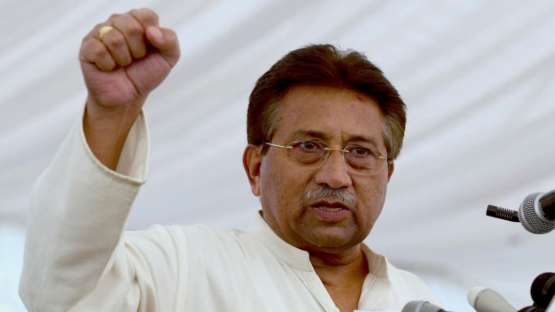"""FILE - In this Monday, April 15, 2013 file photo, Pakistan's former President and military ruler Pervez Musharraf addresses his party supporters at his house in Islamabad, Pakistan. Pakistan's main federal investigative agency has """"irrefutable proof"""" that former military ruler Musharraf illegally declared a state of emergency in 2007, according to a report it released Wednesday, May 14, 2014, as the one-time leader now faces a high treason trial over the declaration. (B.K. Bangash, File)"""
