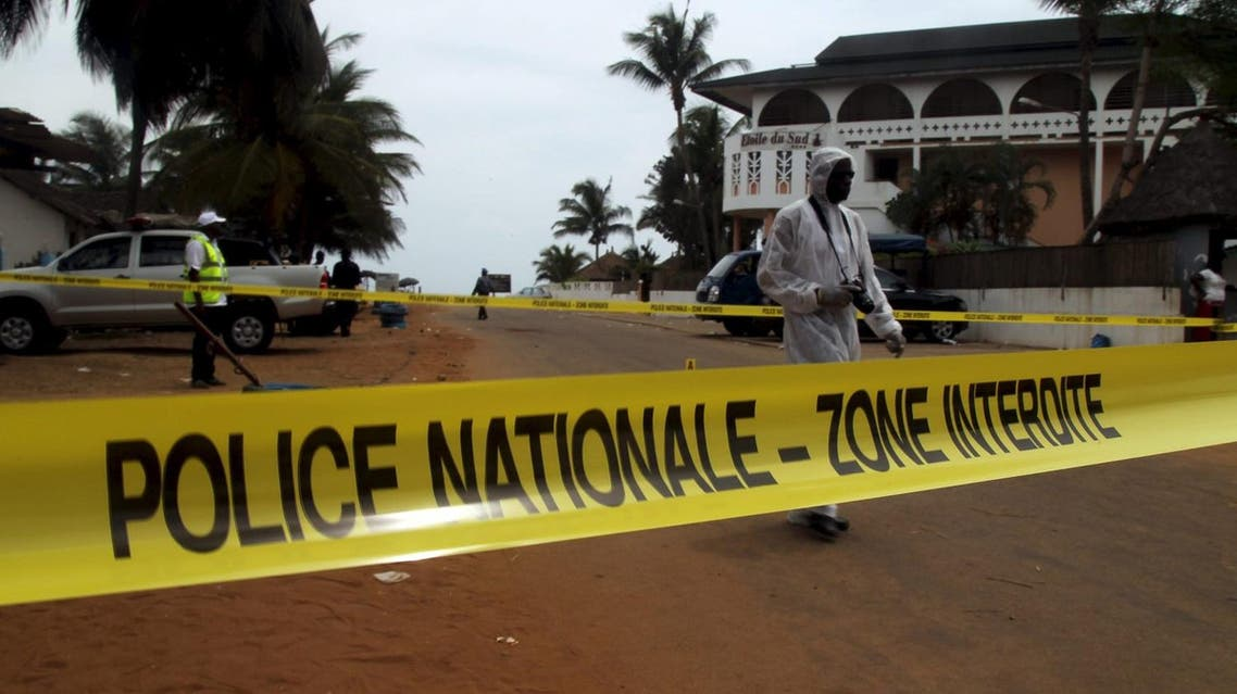 A police cordon is seen while Ivorian police prepare to inspect the area of the hotel Etoile du Sud following an attack by gunmen from al Qaeda's North African branch, in Grand Bassam, Ivory Coast, March 14, 2016. REUTERS/Luc Gnago