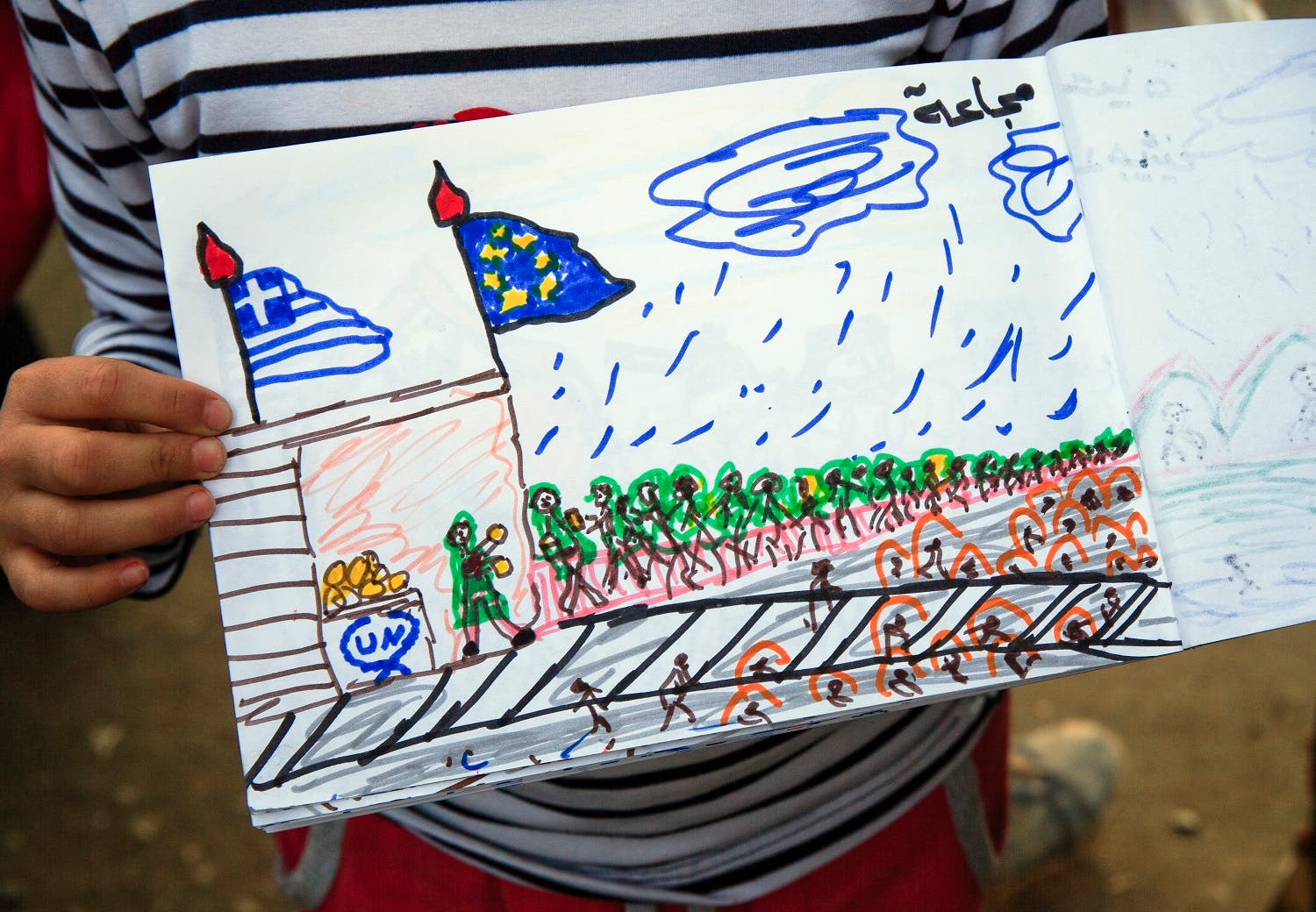 Shaharzad Hassan, 8 year-old from the Syrian city of Aleppo poses with a drawing she made at the northern Greek border station of Idomeni, Friday, March 11, 2016. At an overcrowded refugee camp on the Greek-Macedonian border, 8-year-old Shaharzad Hassan draws pictures of the harrowing events in her life over the past 18 months: Pictures of death in her home town of Aleppo, Syria, and her perilous journey to Europe .(AP Photo/Vadim Ghirda)