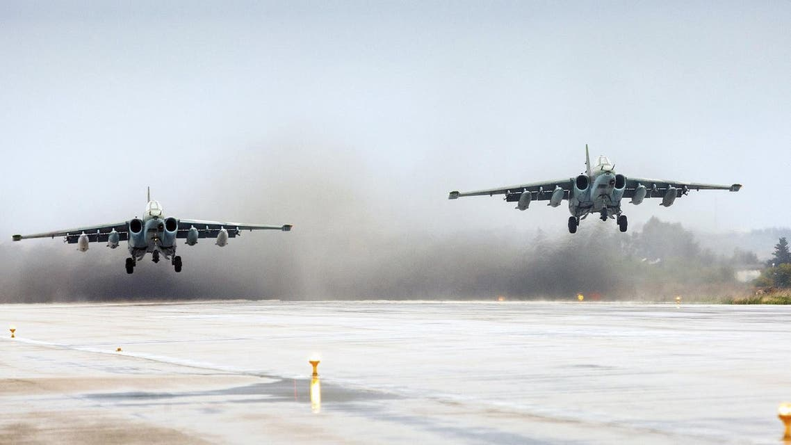 Russian Sukhoi Su-25 fighter jets take off as part of the withdrawal of Russian troops from Syria at Hmeymim airbase, Syria, March 16, 2016. (Reuters)