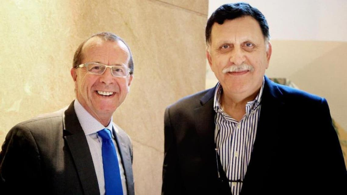In this Feb. 17, 2016 file photo, U.N. special envoy for Libya Martin Kobler, left, is greeted by Fayez Serraj, Libyan designated-prime minister and head of the presidential council, in Cairo, Egypt (AP)