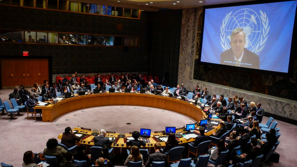 UN Ebola mission chief Anthony Banbury (on screen) speaks to members of the United Nations Security Council during a meeting on the Ebola crisis at the UN headquarters in New York, October 14, 2014. Banbury has accused the world body of 'colossal mismanagement' in an op-ed column on the New York Times website (Reuters)