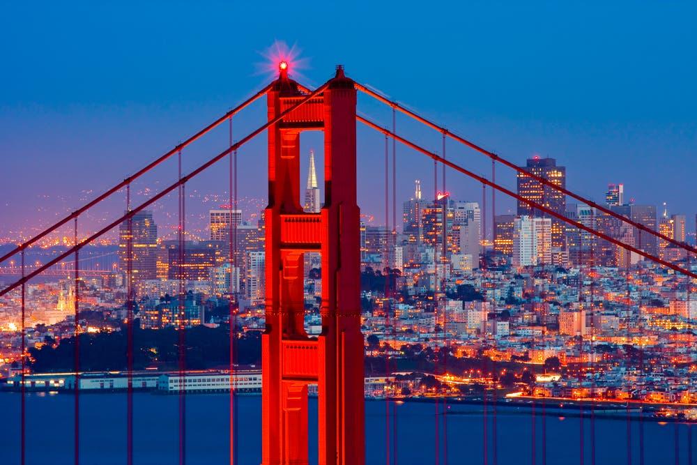 Golden Gate Bridge and downtown San Francisco. (Shutterstock)
