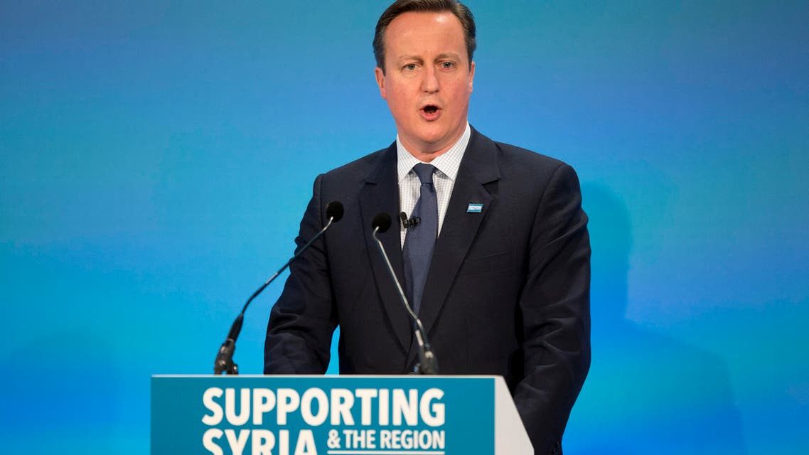 British Prime Minister David Cameron speaks during the co-hosts press conference near the end of the 'Supporting Syria and the Region' conference at the Queen Elizabeth II Conference Centre in London, Thursday, Feb. 4, 2016. (AP)